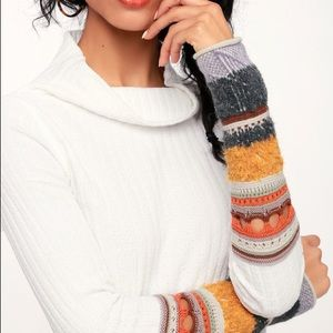 Free People Mixed Up Cuff Sweater
